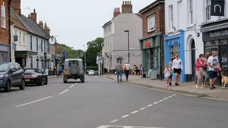 Shoppers out in Holt on the first day of non-essential shops reopening after lockdown. Picture: Staf