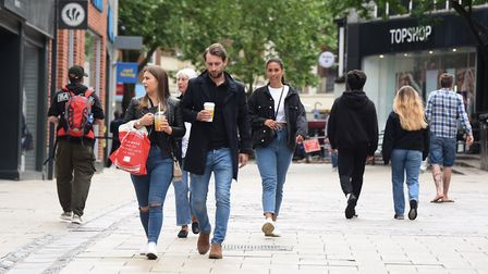 Shoppers out in the city as more businesses are reopening. Picture: DENISE BRADLEY