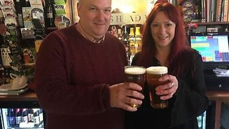 King's Head on Magdalen Street owner Stephen George and manager Alison White. Picture: Dominic Gilbe