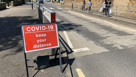 Covid-19 signs and markers have been placed in Downham Market's town centre. Picture: Sarah Hussain