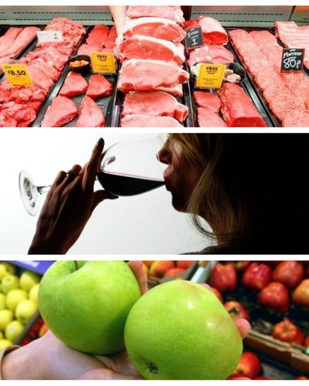 Meat, wine, spirits and beer, and fresh fruit have all seen rising prices despite the record low inf