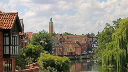Image taken from Fye Bridge showing the River Wensum winding through the City of Norwich. Picture: i
