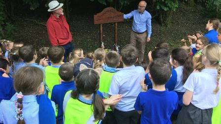 Councillor Martin Wilby opened the new woodland classroom at Scole Pocket Park in summer 2019. Pictu