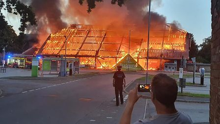 The fire at Budgens in Holt. Picture: Lee Smith