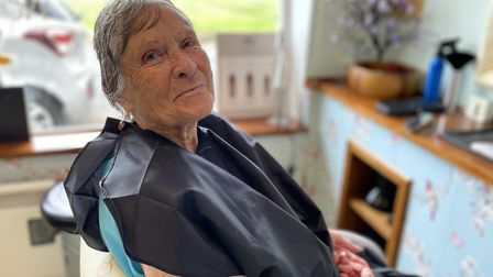 June Quinn came to have her hair cut for the first time in three months, at Aspire hair salon in Nor