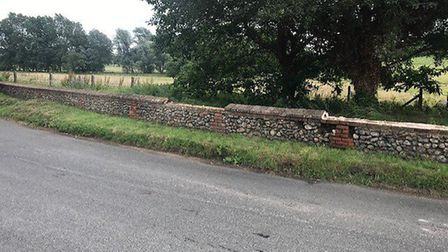 Coping stones were stolen from a wall at the Walsingham estate. Pictures: supplied by John Downing