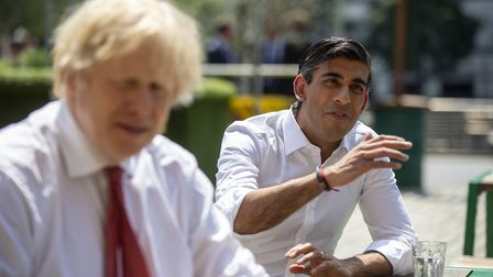 Prime minister Boris Johnson and chancellor Rishi Sunak during a visit to a pizza restaurant - if th