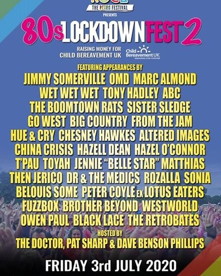 The line-up for 80s Lockdown Fest 2, organised by Let's Rock Picture: Supplied