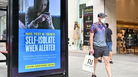 IMPORTANT MESSAGE: The NHS Test and Trace messaging on a high street billboard Picture: Glyn KIRK