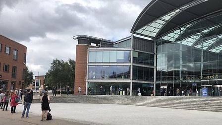 People queuing to get into the Forum on the first day of the reopening of the Norfolk and Norwich Mi