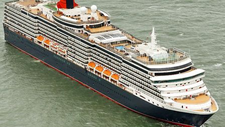 Joining the tankers moored off Pakefield and Kessingland is cruise liner Cunard Queen Victoria. Pict