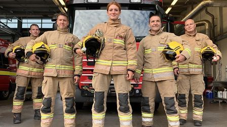 Vicky Spall and the watch team at Carrow Fire Station. Pic: Norfolk Fire and Rescue Service.