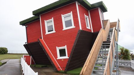 The Upside Down House, one of the latest attractions at the Pleasure Beach at Great Yarmouth. Pictur