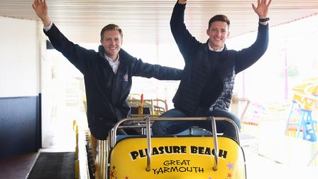 Directors, brothers Jamie, left, and Aaron Jones, at the roller coaster ready to welcome the public