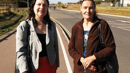 County councillor Alexandra Kemp (left) and Denise Paynter beside Harding's Way Picture: Chris Bish