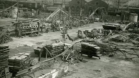 Boulton & Pauls Riverside Works after a bombing raid. Courtesy of Norfolk County Council. Picture No
