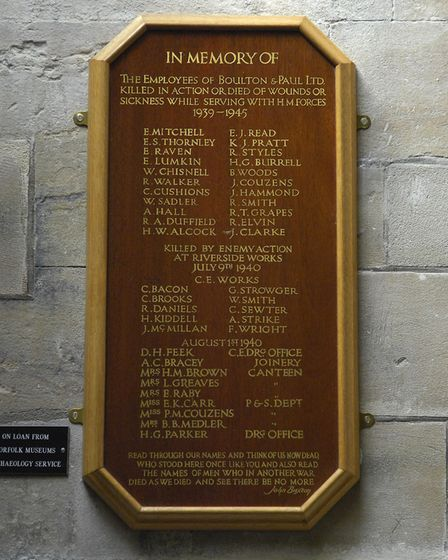 The mermorial to Boulton & Paul victims of the 1940 Second World War bombing at St Peter Mancroft Ch