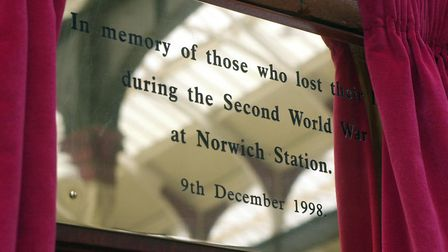 A plaque at Norwich station commemorating those who were killed on July 9, 1940. Picture: Keith Whit