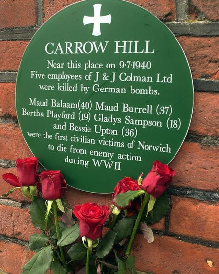 The plaque to commemorate the bomb blast at Carrow Hill in 1940 which killed five workmates from Col
