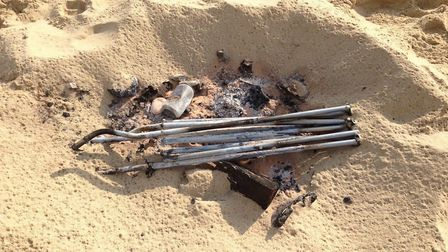 A burnt chair found on the beach between Eccles-on-Sea and Sea Palling. Picture: Sarah Lloyd
