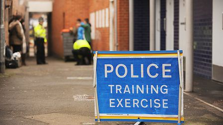 Student officers taking part in a drugs stop and search training exercise in Dereham. Norfolk police