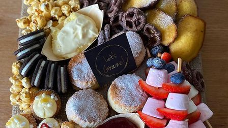 The sweet platter from Let's Graze which includes homemade scones with jam and cream and Eton mess c