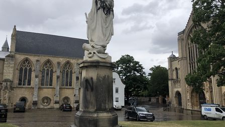 Fresh graffiti has been sprayed onto the Lord Nelson statue in the grounds of Norwich Cathedral. Pic