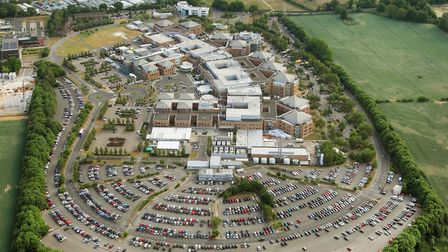 Norfolk and Norwich University Hospital where crowds gathered to see the flypast of the NHS Spitfire