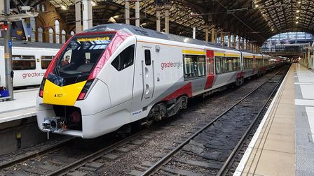 The new Greater Anglia train arrives at London Liverpool Street. Pic: Greater Anglia.