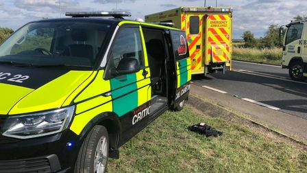 Norfolk Accident Rescue Service (NARS) supporting emergencies at the scene of a three-vehicle crash
