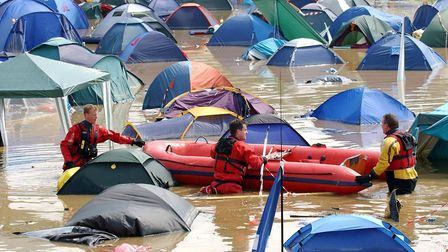Rescue services at the scene of flooding at a campsite during the Glastonbury Festival, 24 June 2005