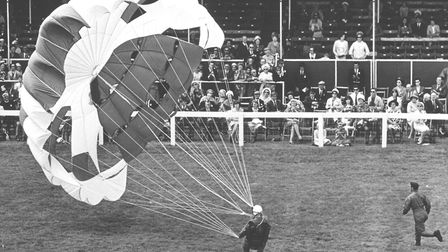 Royal Norfolk Show Gallery. A parachutist lands safely in the Grand Ring at the Royal Norfolk Show.