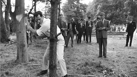 Log chopping competition at the 1964 Royal Norfolk Show