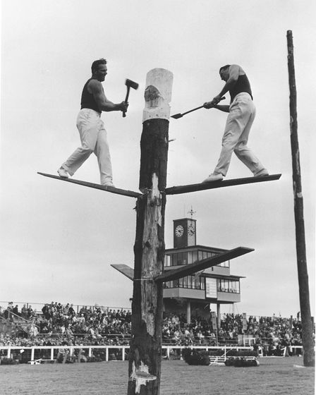 Royal Norfolk Show Gallery. Australian axemen demonstrate their skill in the tree-chopping event at