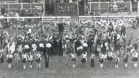 """Royal Norfolk Show 1974. At the end of the displays the Pageant was """"played out"""" by the Norfolk Yout"""