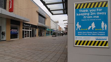 King's Lynn's shopping centre was left deserted amid the coronavirus lockdown. Picture: Chris Bishop