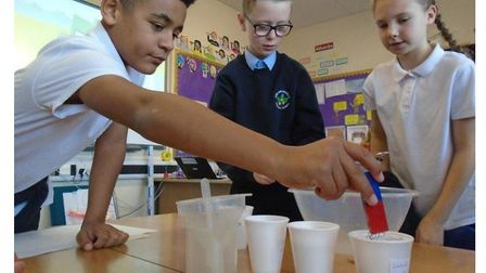 Pupils learning at Carlton Colville Primary School in Lowestoft. They are celebrating being rated as