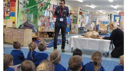 Pupils at Carlton Colville Primary School in Lowestoft, during a special visit to the school. They a