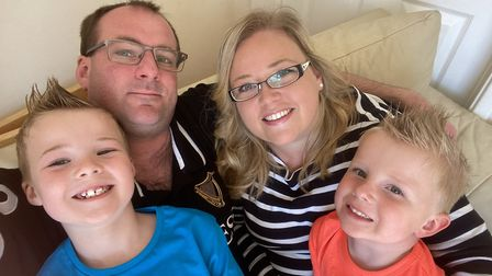 Linsey McFarlane, from Badersfield, with her husband Alistair, and sons Charlie (left) and William.