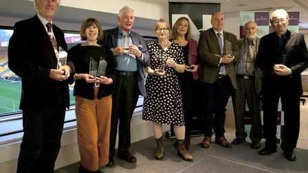 The winners of the 2019 East Anglian Book Awards. From left to right: Professor Christopher Bigsby,