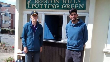 Beeston Hills putting green leaseholder Tim Turvey with England cricket legend Sir Alastair Cook, wh