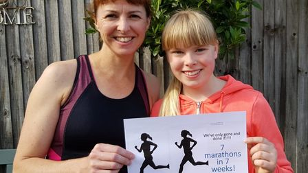 Mum Julie Smith and daughter Lily Smith after completing the fundraising challenge as they covered a
