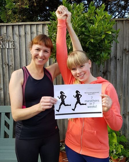 Celebrations as mum Julie Smith and daughter Lily Smith complete the fundraising challenge as they c