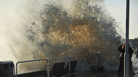 Waves crash over Lowestoft during the 2013 storm surge. Picture: Nick Butcher