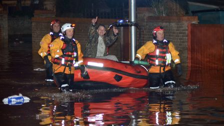 Flooding in Lowestoft on the night of the storm surge in December 2013. Picture: Mick Howes