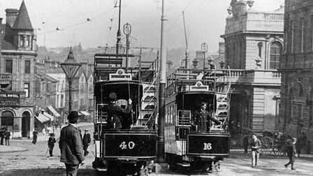 Mind the gap! Trams trundling up and down Prince of Wales Road in Norwich. Photo: Mike Adcock Collec