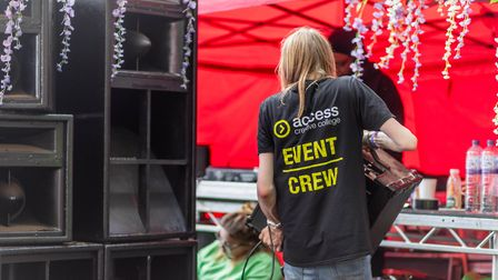 Access Creative College working on the Inbetweeners Stage at Latitude Festival. Picture: Geena Sharm