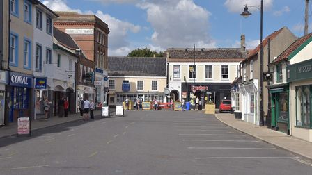 New Market, in Beccles, has been closed to traffic in a bid to help social distancing. PHOTO: Sonya