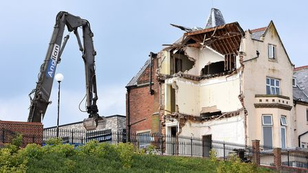 Demolition works continue at the Cefas building, the site of the former Grand Hotel, as part of a ma