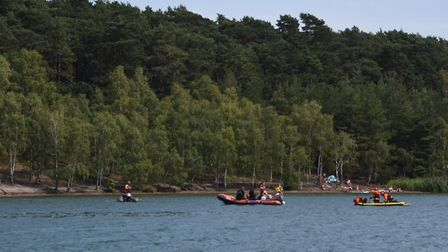 A search is under way at Bawsey Country Park after a man got into difficulty in the water. Photo: Ia